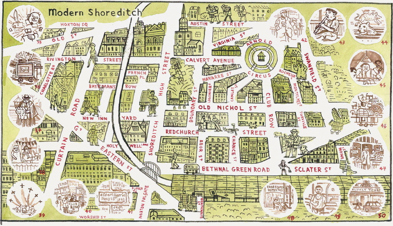 Old Street London Map.Adam Dant S Map Of Shoreditch Old New Spitalfields Life
